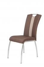 4 Stühle=Set Küchenstuhl Esszimmerstuhl Stuhl Amber 3 Webstoff Braun Kunstleder Beige
