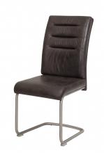 2 Freischwinger=Set Schwing - Stuhl Küchenstuhl Paula 46 Stoff Anthrazit Edelstahl