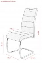 8 Freischwinger=Set Schwinger Stuhl Esszimmerstuhl Flora III 52 Webstoff Grau
