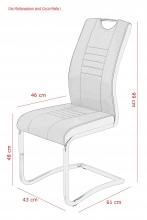 4 Freischwinger=Set Schwinger Stuhl Tabea II 50/03 Grau Schwarz Microfaser Kunstleder